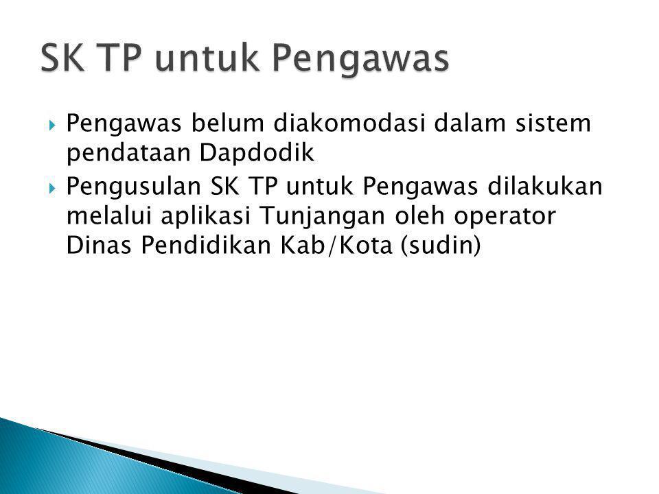 SK TP untuk Pengawas Pengawas belum diakomodasi dalam sistem pendataan Dapdodik.