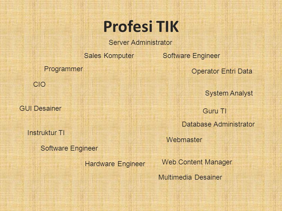 Profesi TIK Server Administrator Sales Komputer Software Engineer