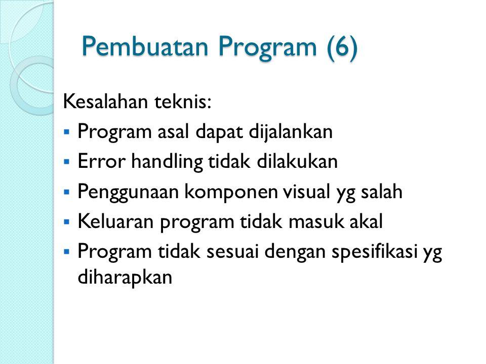 Pembuatan Program (6) Kesalahan teknis: Program asal dapat dijalankan