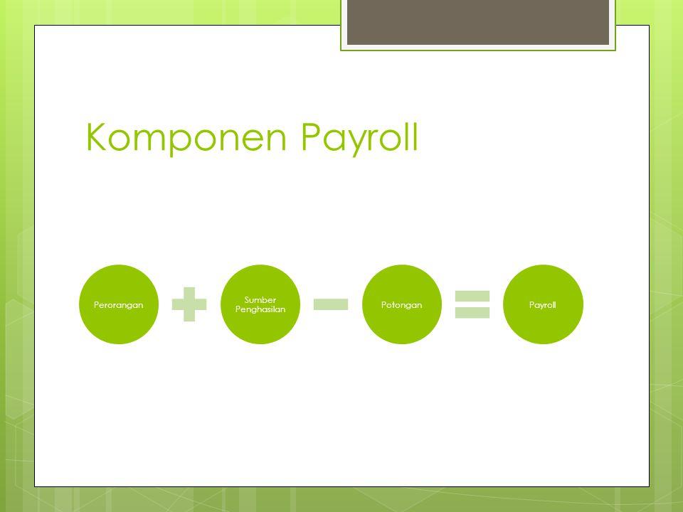 Komponen Payroll Perorangan Sumber Penghasilan Potongan Payroll