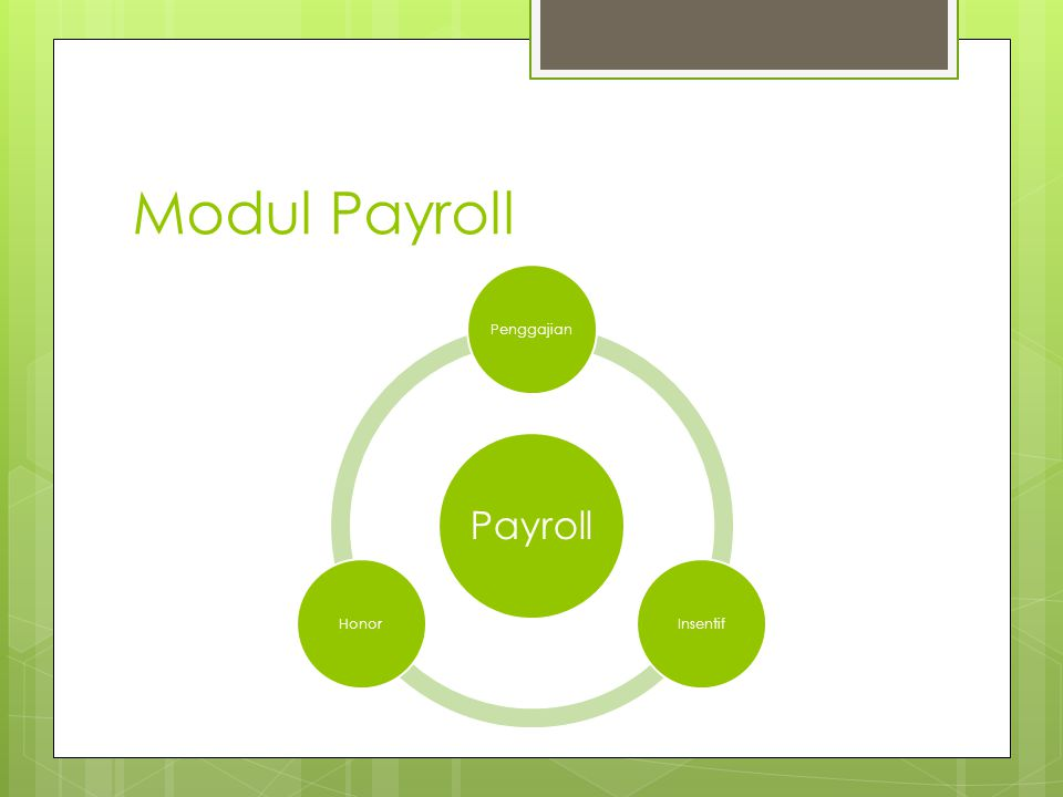 Modul Payroll Payroll Penggajian Insentif Honor