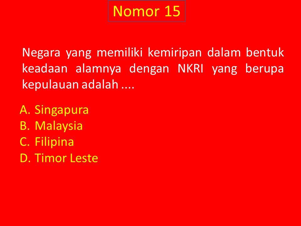 Nomor 15 Negara yang memiliki kemiripan dalam bentuk keadaan alamnya dengan NKRI yang berupa kepulauan adalah ....