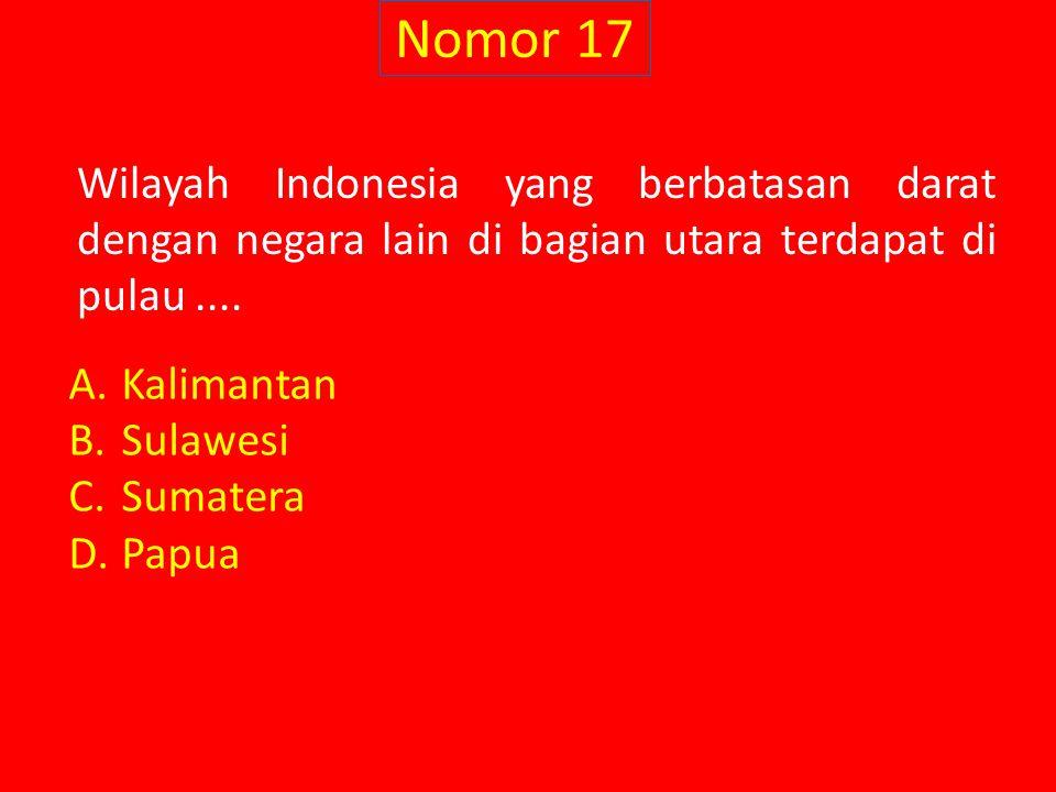 Nomor 17 Wilayah Indonesia yang berbatasan darat dengan negara lain di bagian utara terdapat di pulau ....