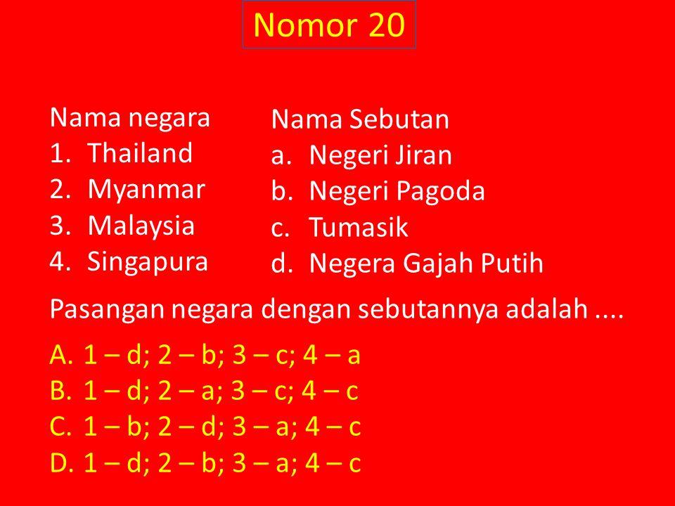 Nomor 20 Nama negara Nama Sebutan Thailand Negeri Jiran Myanmar