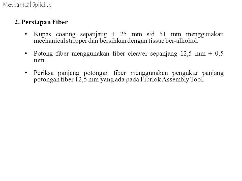 Potong fiber menggunakan fiber cleaver sepanjang 12,5 mm ± 0,5 mm.