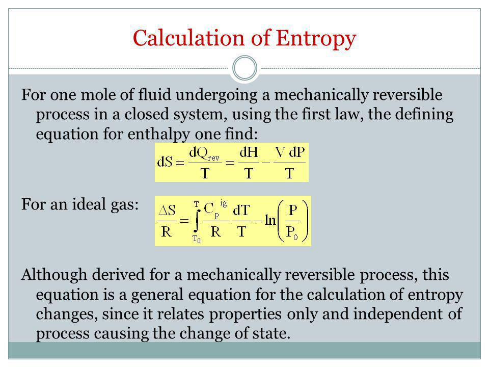 Calculation of Entropy