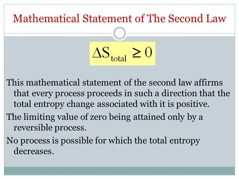 Mathematical Statement of The Second Law