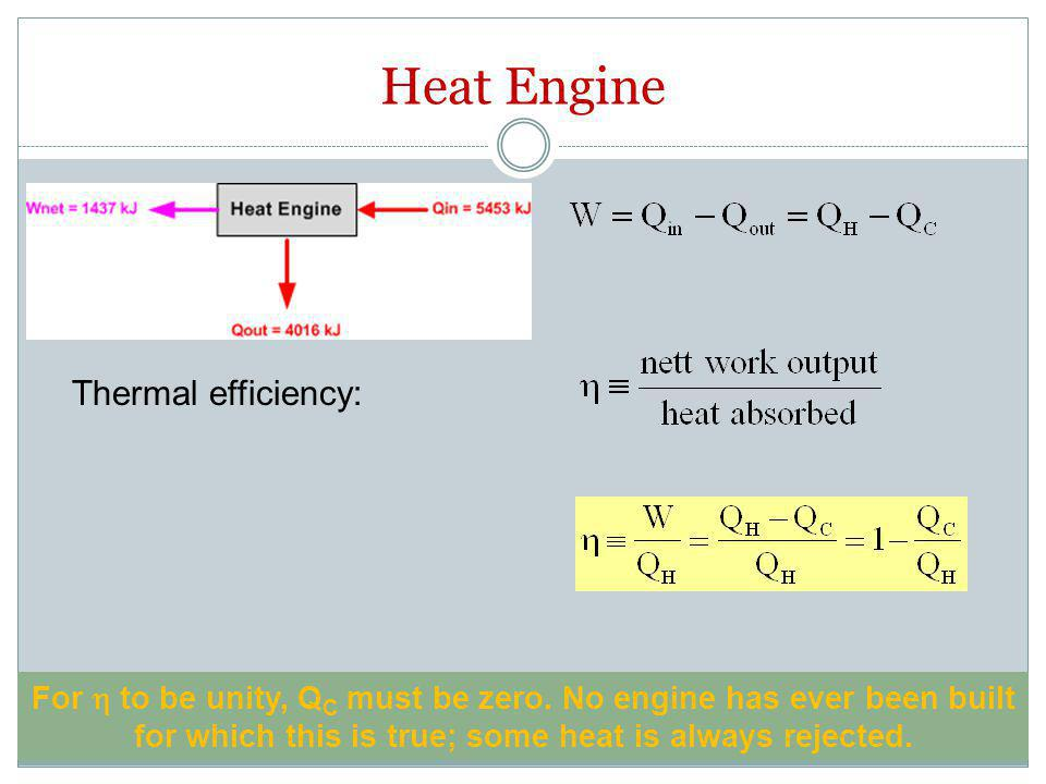 Heat Engine Thermal efficiency: