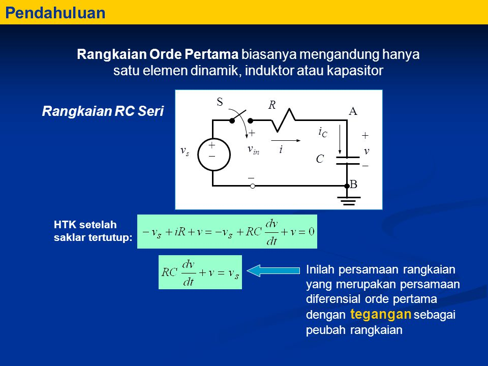 Pendahuluan Rangkaian Orde Pertama biasanya mengandung hanya satu elemen dinamik, induktor atau kapasitor.