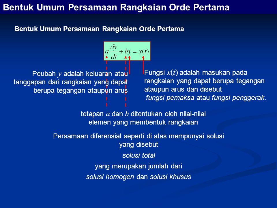 Bentuk Umum Persamaan Rangkaian Orde Pertama