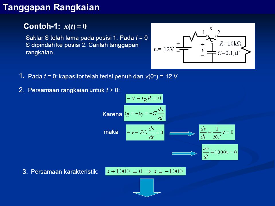 Tanggapan Rangkaian Contoh-1: x(t) = 0 1. 2. 3. +  vs= 12V R=10k