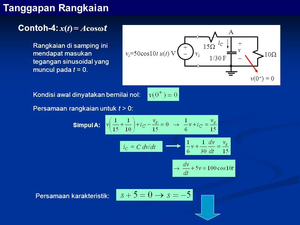 Tanggapan Rangkaian Contoh-4: x(t) = Acost A iC +