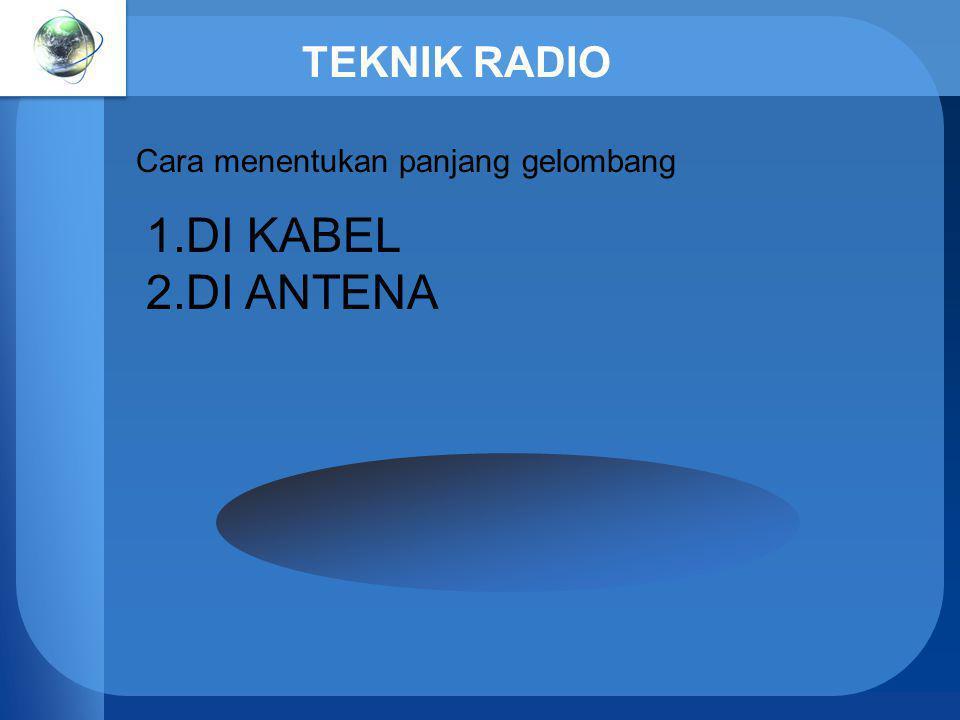 TEKNIK RADIO Cara menentukan panjang gelombang DI KABEL DI ANTENA