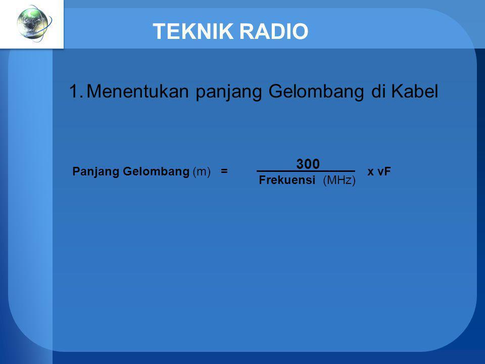 TEKNIK RADIO Menentukan panjang Gelombang di Kabel 300 _