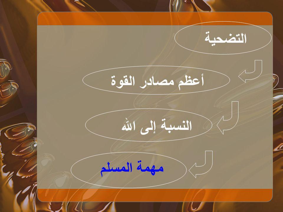 التضحية أعظم مصادر القوة النسبة إلى الله مهمة المسلم