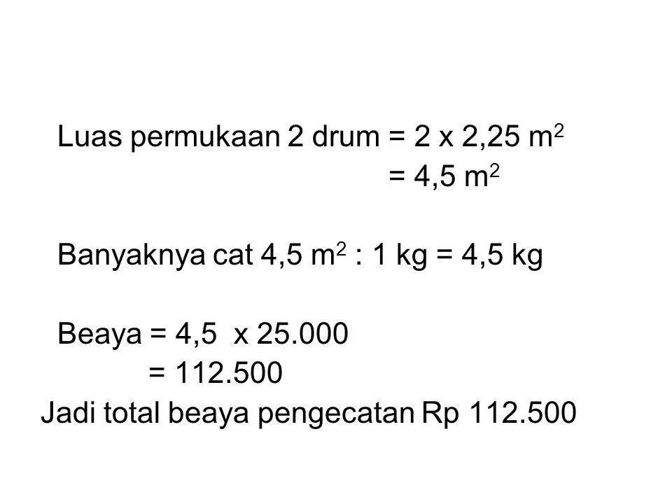 Luas permukaan 2 drum = 2 x 2,25 m2