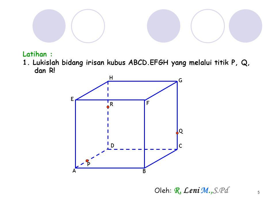 1. Lukislah bidang irisan kubus ABCD.EFGH yang melalui titik P, Q,