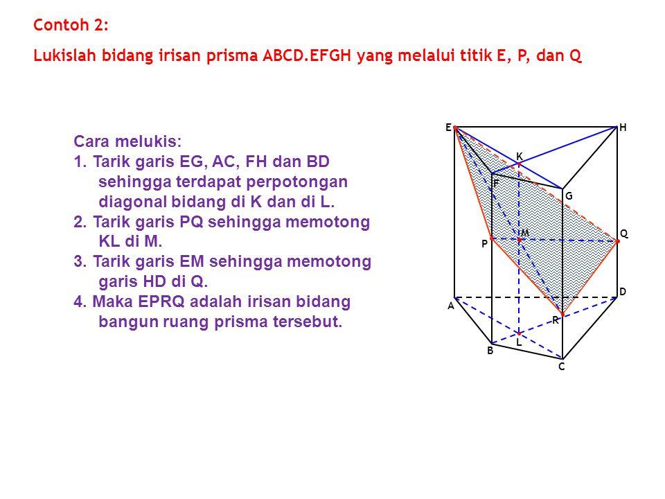 Lukislah bidang irisan prisma ABCD.EFGH yang melalui titik E, P, dan Q