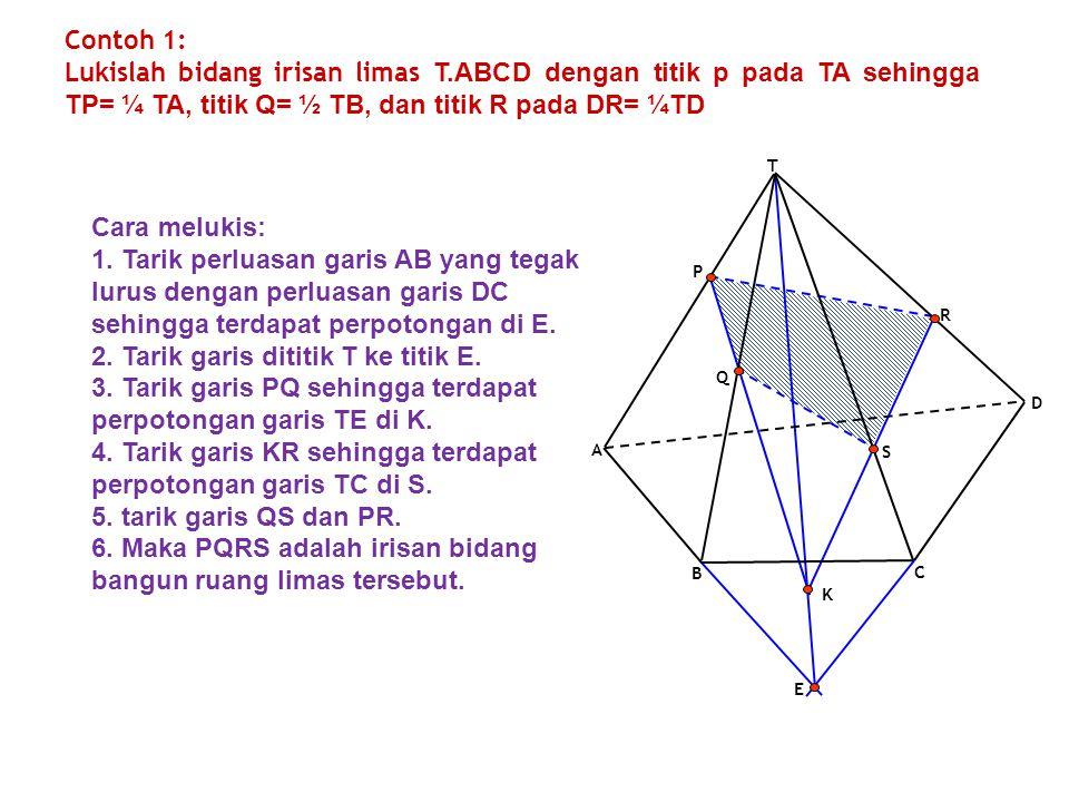 2. Tarik garis dititik T ke titik E.