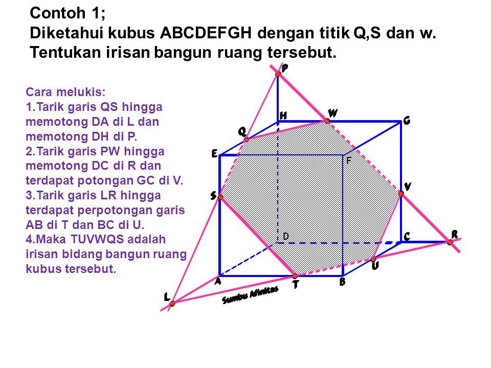 Contoh 1; Diketahui kubus ABCDEFGH dengan titik Q,S dan w. Tentukan irisan bangun ruang tersebut. A.
