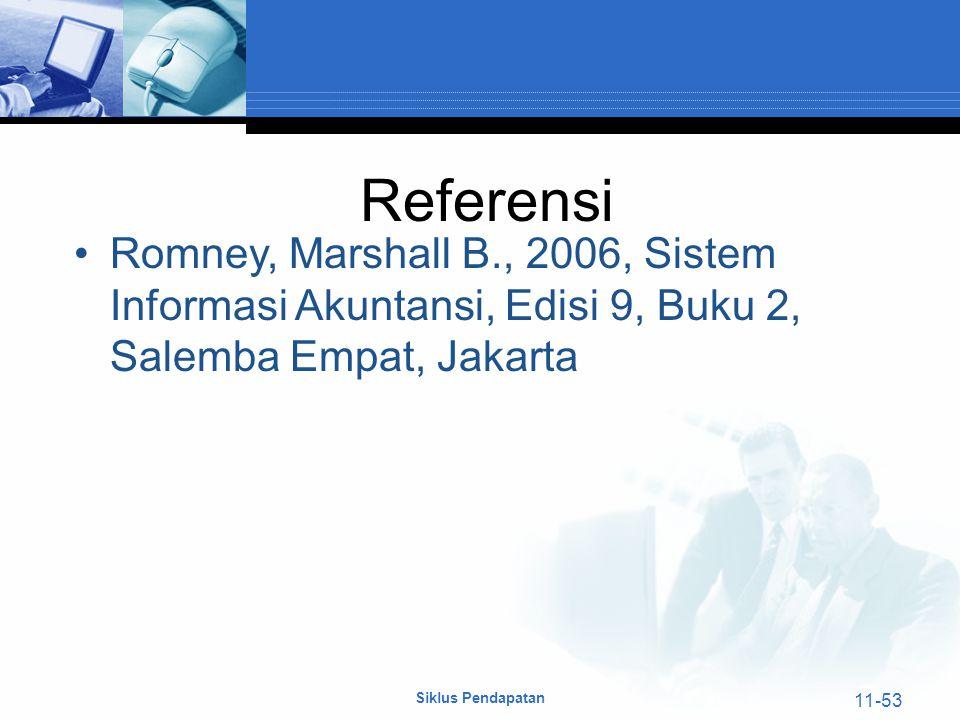 Referensi Romney, Marshall B., 2006, Sistem Informasi Akuntansi, Edisi 9, Buku 2, Salemba Empat, Jakarta.