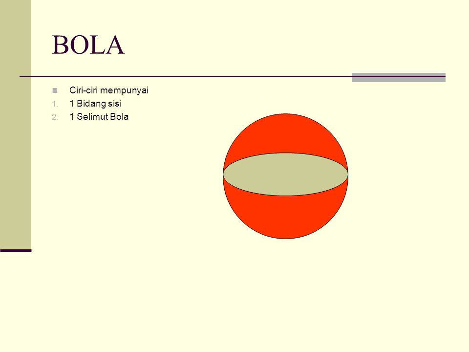 BOLA Ciri-ciri mempunyai 1 Bidang sisi 1 Selimut Bola