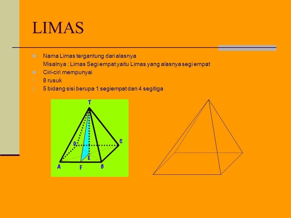 LIMAS Nama Limas tergantung dari alasnya
