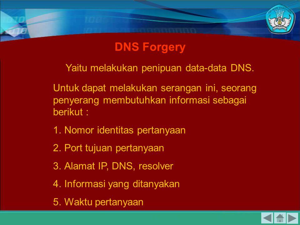 Yaitu melakukan penipuan data-data DNS.