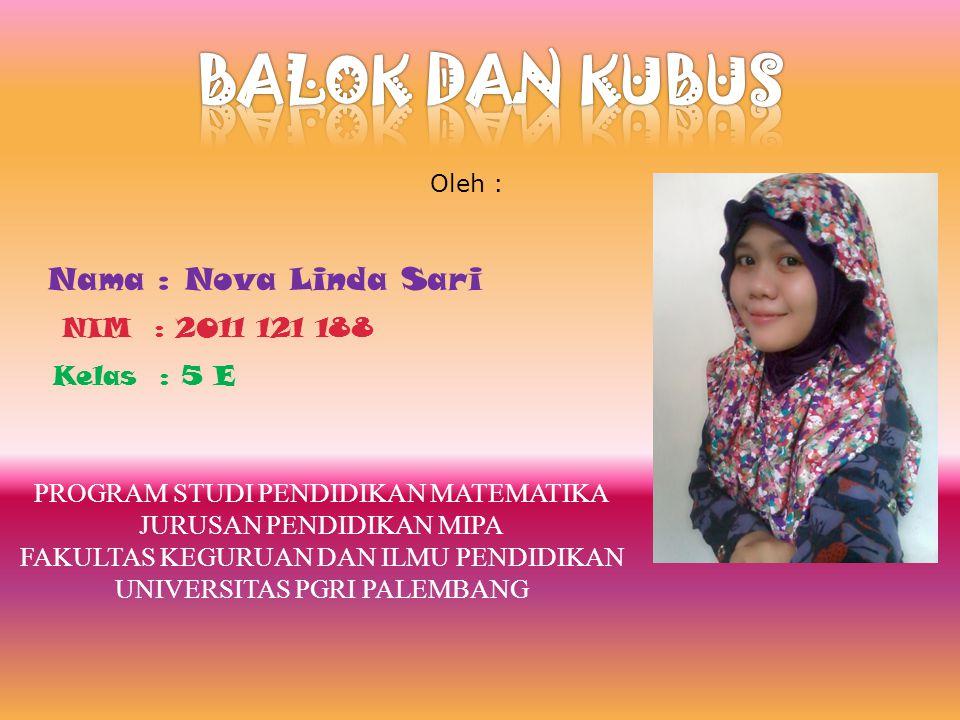 BALOK DAN KUBUS Nama : Nova Linda Sari NIM : 2011 121 188 Kelas : 5 E
