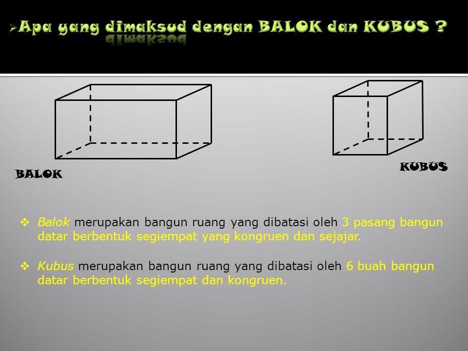 Apa yang dimaksud dengan BALOK dan KUBUS