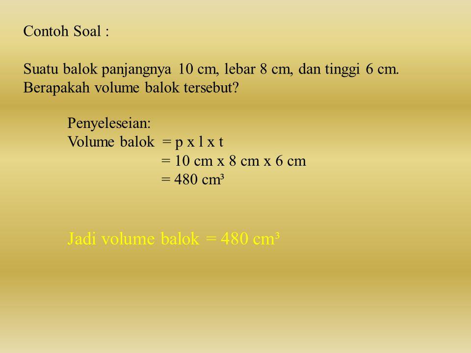 Jadi volume balok = 480 cm³ Contoh Soal :