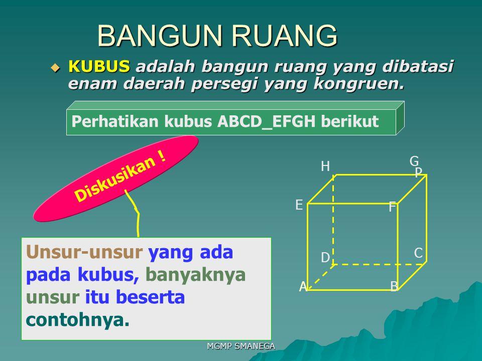 BANGUN RUANG KUBUS adalah bangun ruang yang dibatasi enam daerah persegi yang kongruen. Perhatikan kubus ABCD_EFGH berikut.