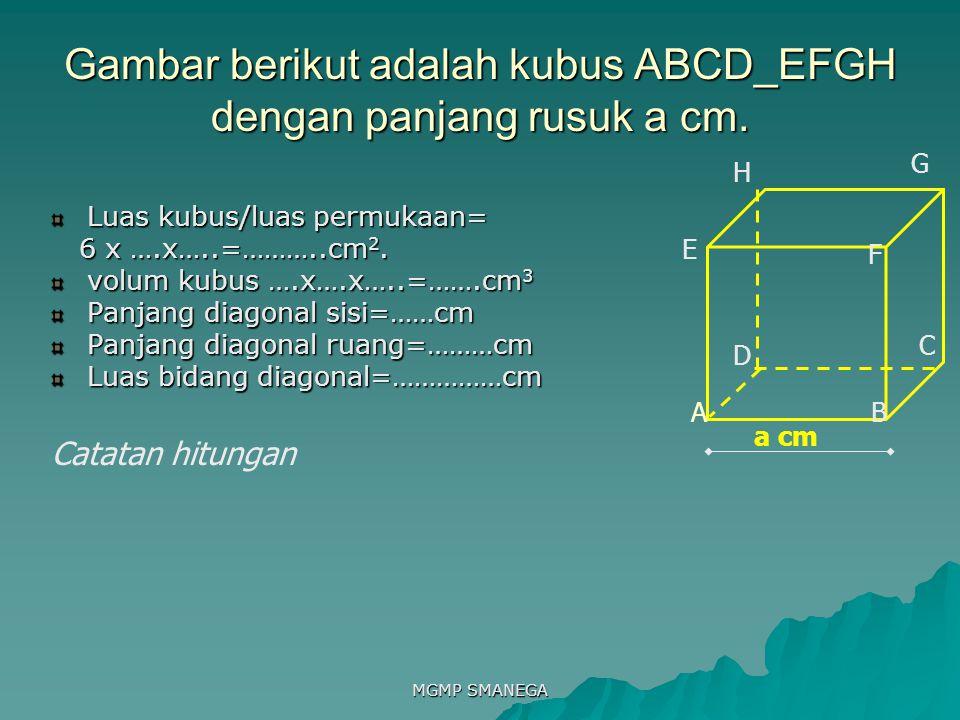 Gambar berikut adalah kubus ABCD_EFGH dengan panjang rusuk a cm.