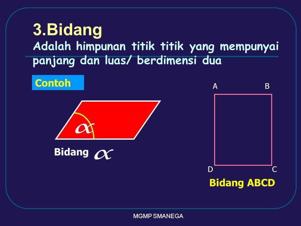 3.Bidang Adalah himpunan titik titik yang mempunyai panjang dan luas/ berdimensi dua