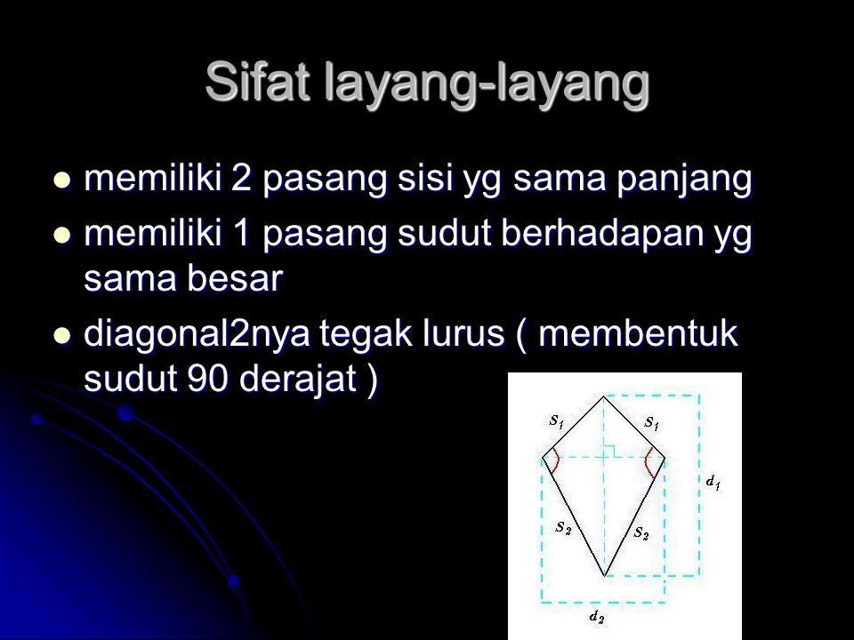 Sifat layang-layang memiliki 2 pasang sisi yg sama panjang
