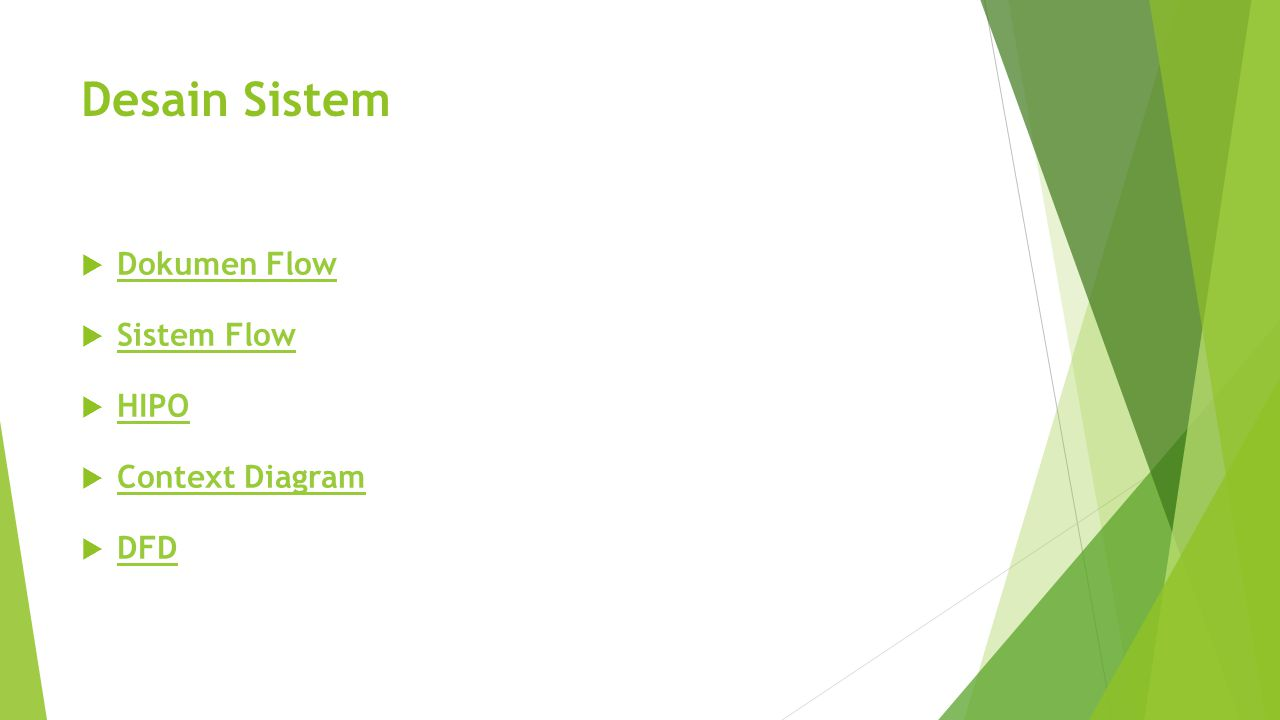 Desain Sistem Dokumen Flow Sistem Flow HIPO Context Diagram DFD