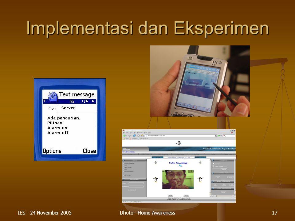 Implementasi dan Eksperimen