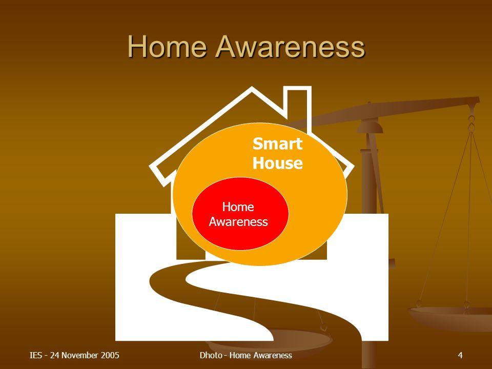 H Home Awareness Smart House Home Awareness IES - 24 November 2005