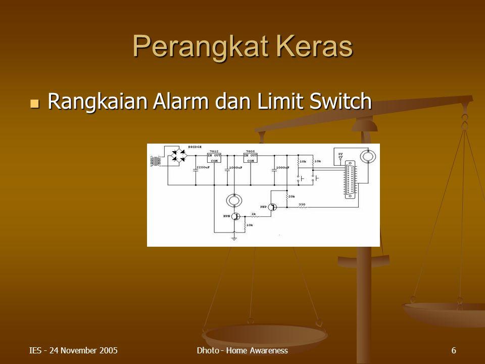 Perangkat Keras Rangkaian Alarm dan Limit Switch