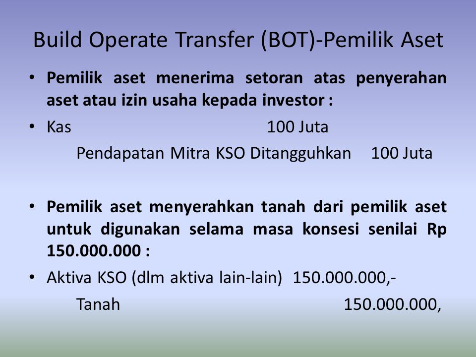 Build Operate Transfer (BOT)-Pemilik Aset