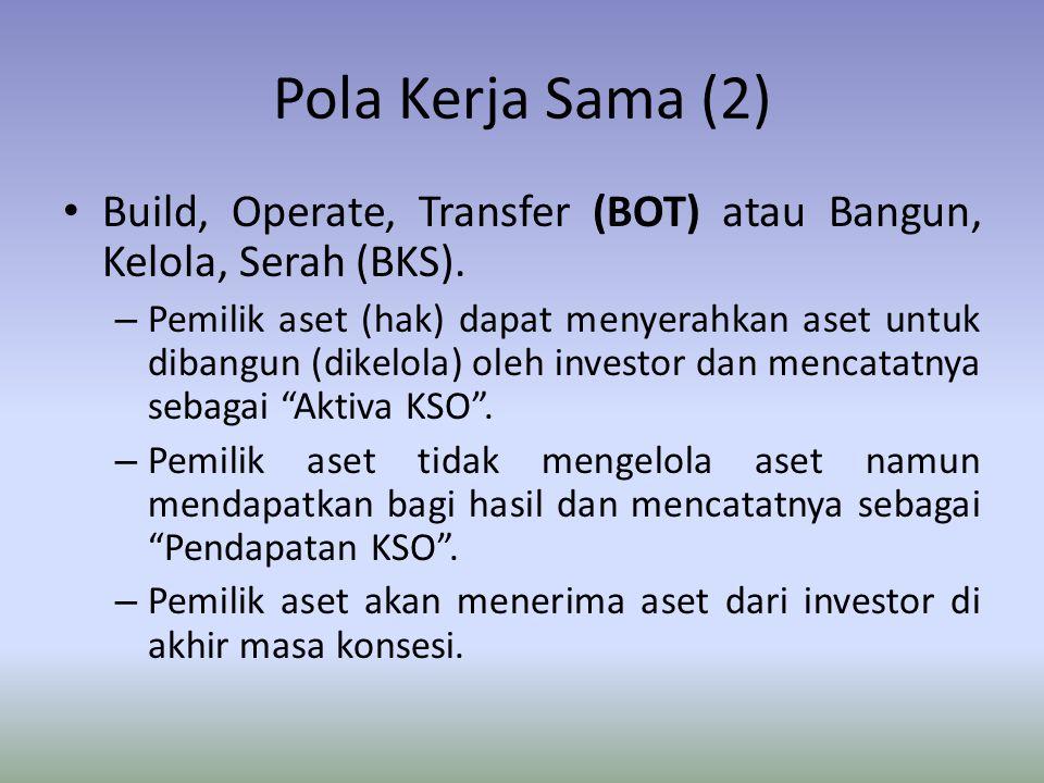 Pola Kerja Sama (2) Build, Operate, Transfer (BOT) atau Bangun, Kelola, Serah (BKS).