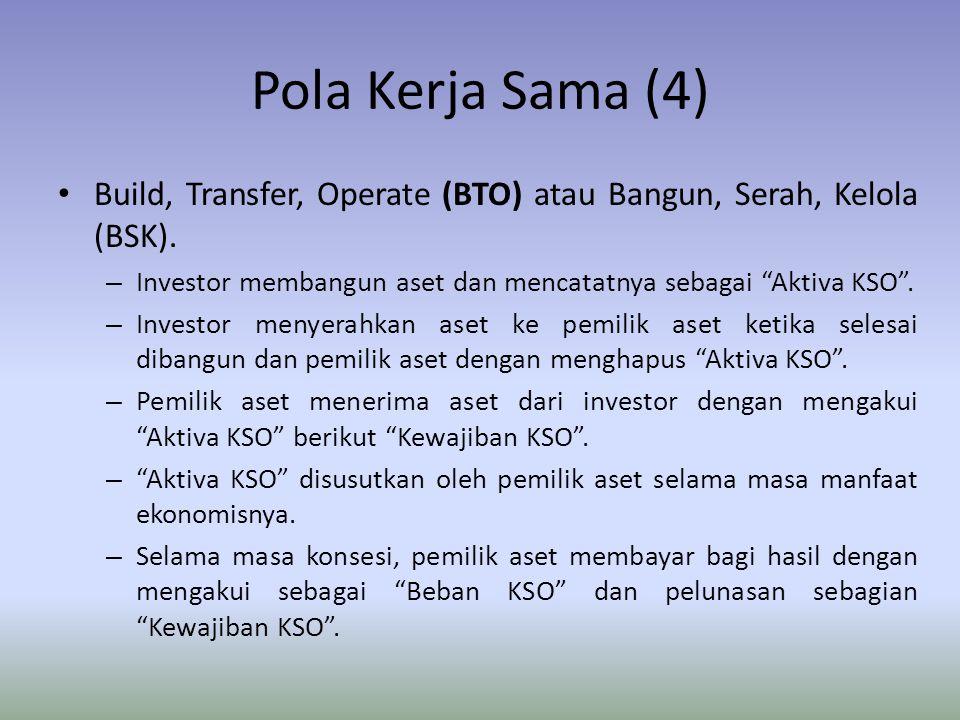 Pola Kerja Sama (4) Build, Transfer, Operate (BTO) atau Bangun, Serah, Kelola (BSK). Investor membangun aset dan mencatatnya sebagai Aktiva KSO .