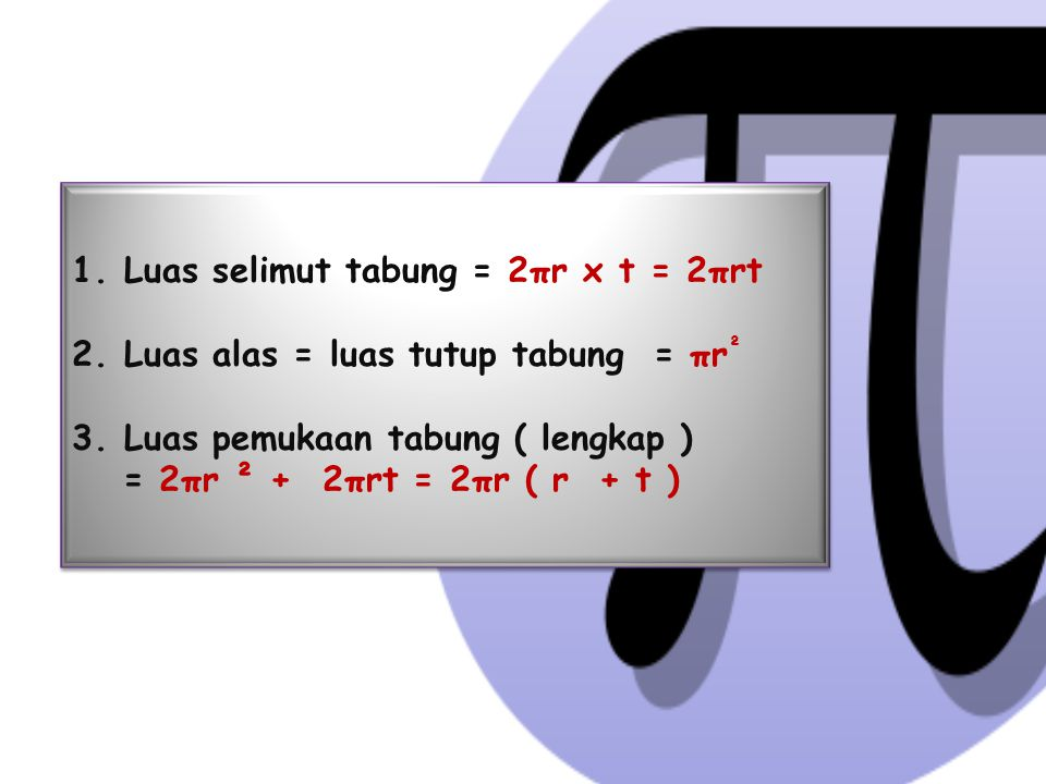 Luas selimut tabung = 2πr x t = 2πrt