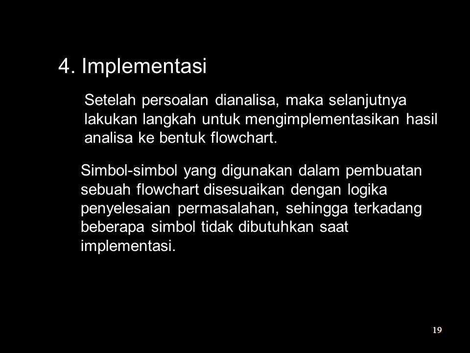 4. Implementasi Setelah persoalan dianalisa, maka selanjutnya lakukan langkah untuk mengimplementasikan hasil analisa ke bentuk flowchart.