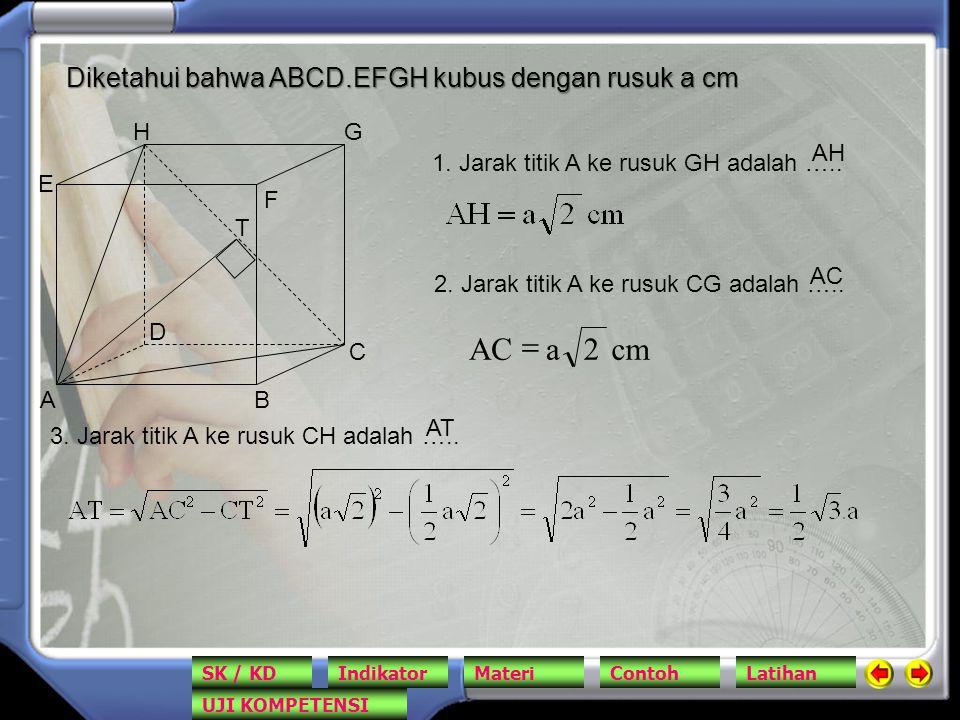 cm 2 a AC = Diketahui bahwa ABCD.EFGH kubus dengan rusuk a cm A B C D