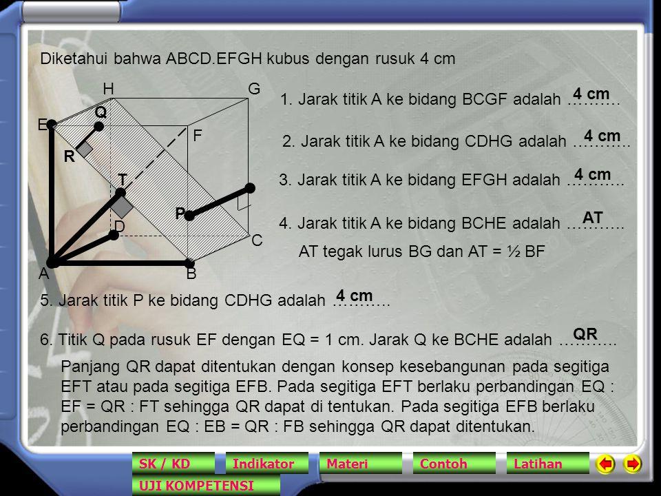 Diketahui bahwa ABCD.EFGH kubus dengan rusuk 4 cm
