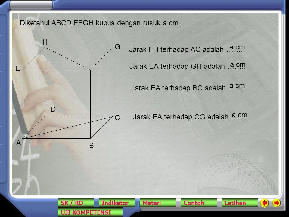 Diketahui ABCD.EFGH kubus dengan rusuk a cm.