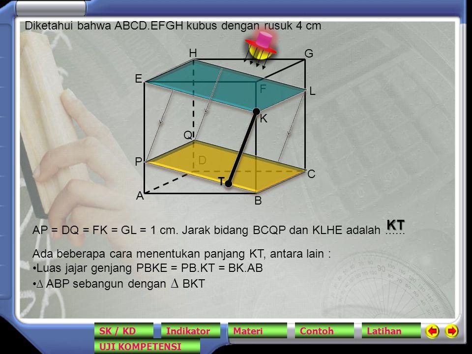 KT Diketahui bahwa ABCD.EFGH kubus dengan rusuk 4 cm H G E F L K Q P D