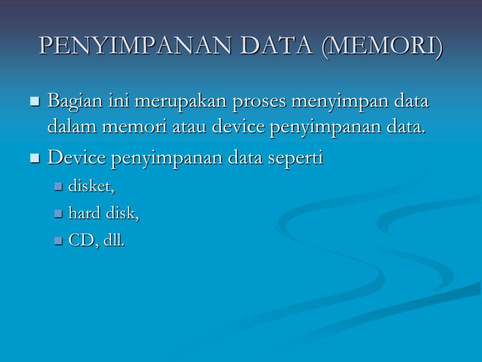 PENYIMPANAN DATA (MEMORI)