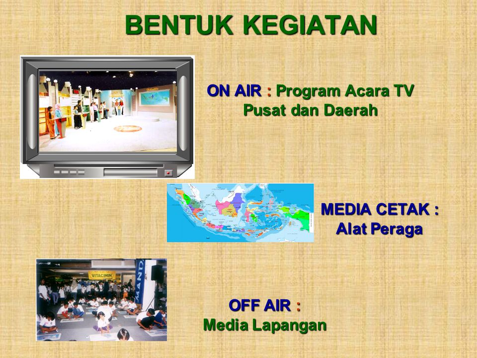 ON AIR : Program Acara TV MEDIA CETAK : Alat Peraga